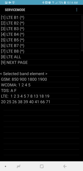 [4] LTE Band Preference Menu